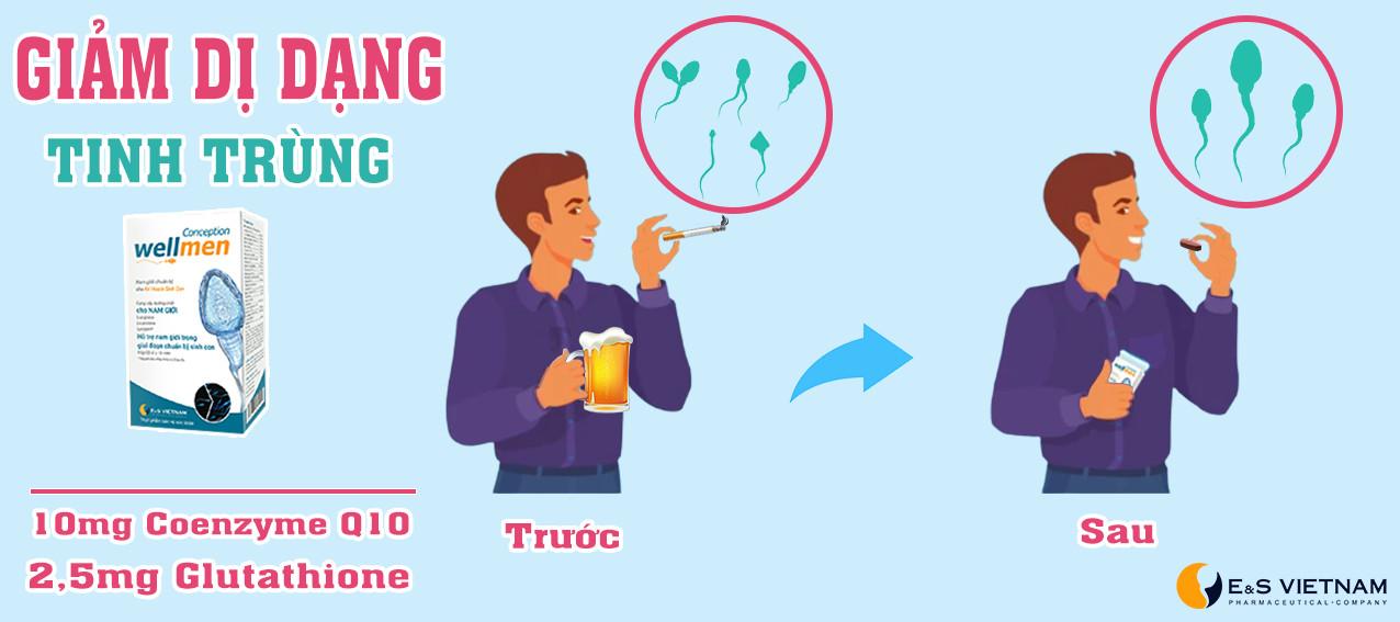 Wellmen Bổ tinh trùng cải thiện tinh trùng dị dạng do rượu bia, thuốc lá